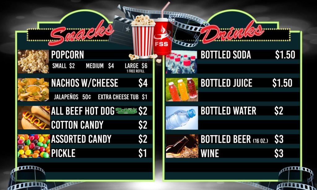 Kirtland Base Theater Snack Bar Menu