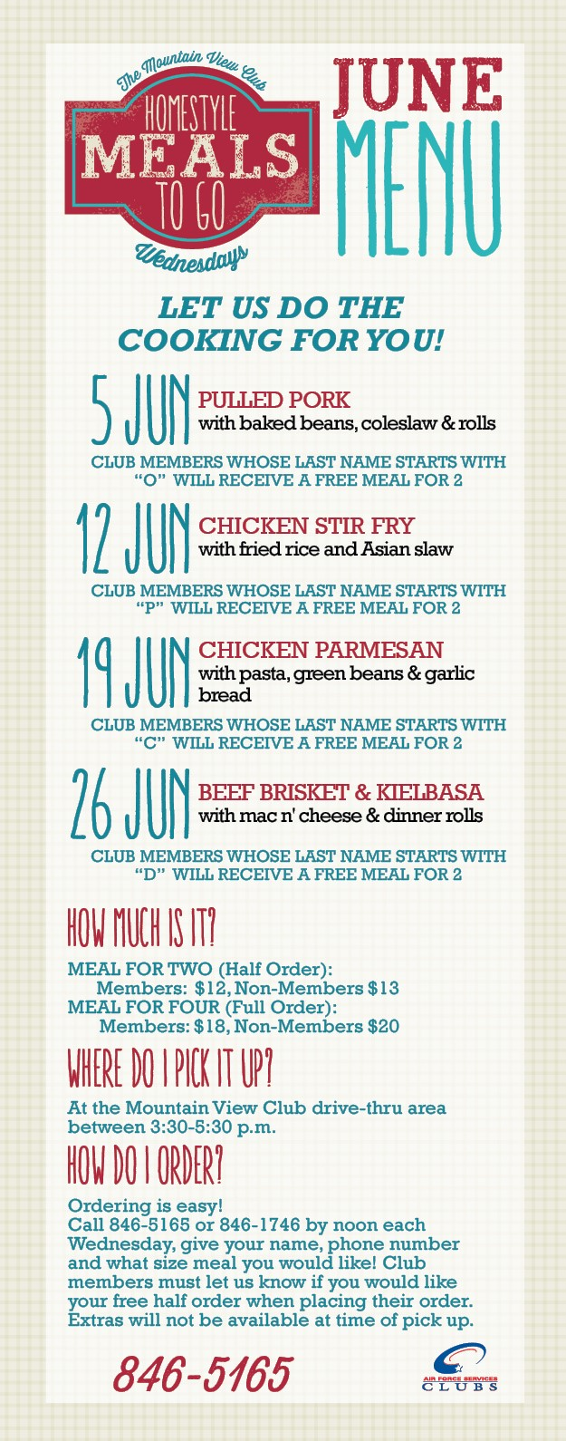 June Meals to Go at the Mountain View Club