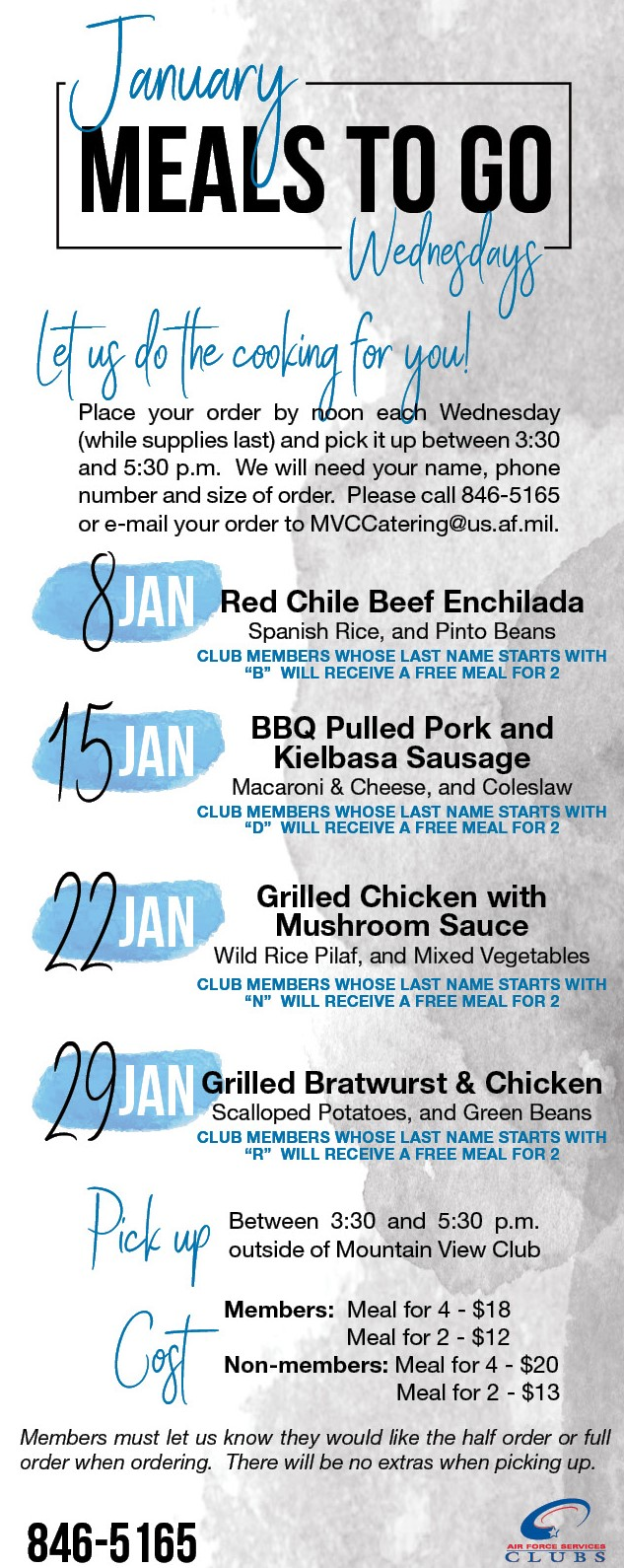 January Meals to Go at the Mountain View Club